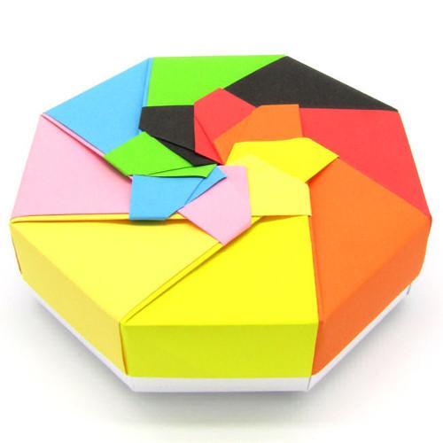 Barevná dárková krabička - velký osmihran květina