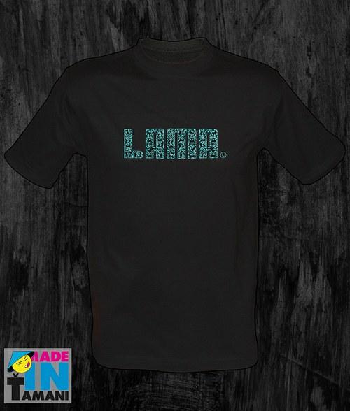 Pánské černé tričko Lama 04