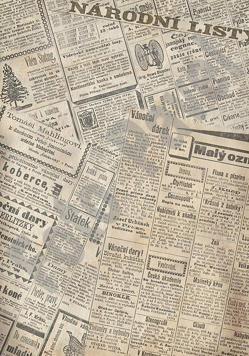 Vintage papír A5 - české noviny 1864