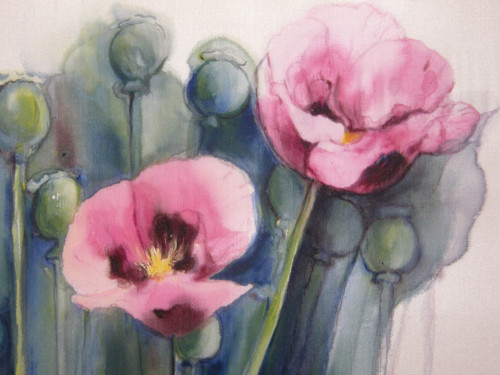 Malba na hedvábí - Květy máku