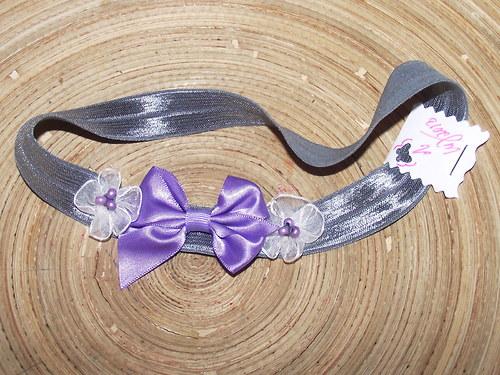 Fialka šedivá čelenka pro miminko / malou slečnu