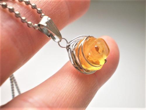 Náhrdelník citrín růže +  ocel řetízek Ochránce