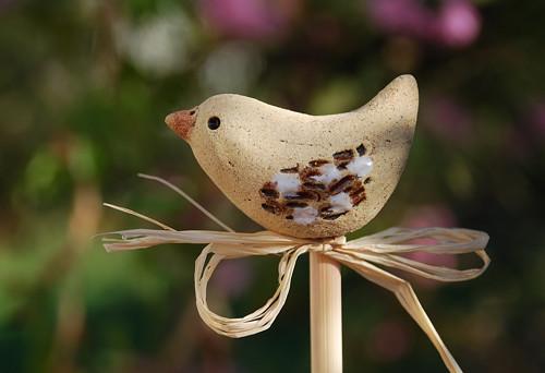 Ptáček z keramiky - zápich