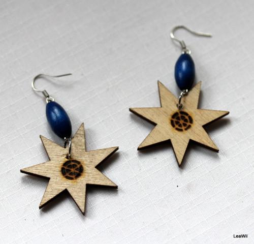 Hvězdy (star) naušnice modrá