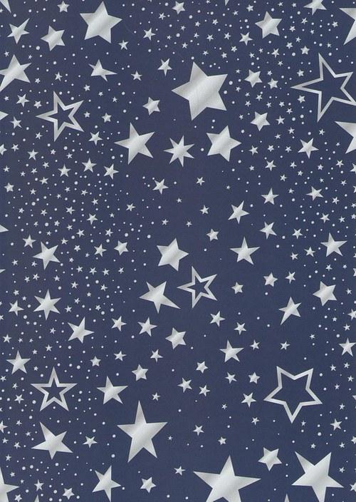 Fotokarton A4 hvězdy mix modré