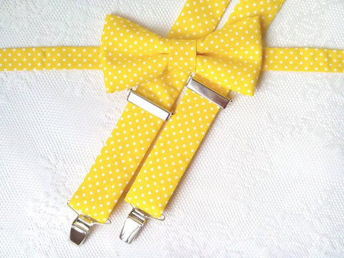 Yellow set (yellow/small white polka dots)