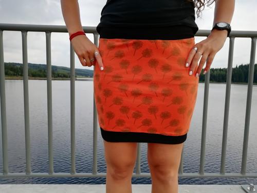 Šitá sukně-Bio úplet-pampelišky