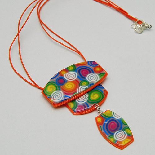 Oranžový náhrdelník z fima