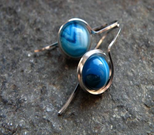 Naušnice provlékací - modrý achát