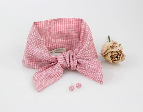 Elegantný set - pôvabná ľanová šatka ružovej farby