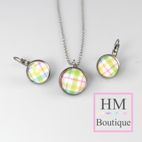 ocelový set -náušnice a náhrdelník barevné proužky