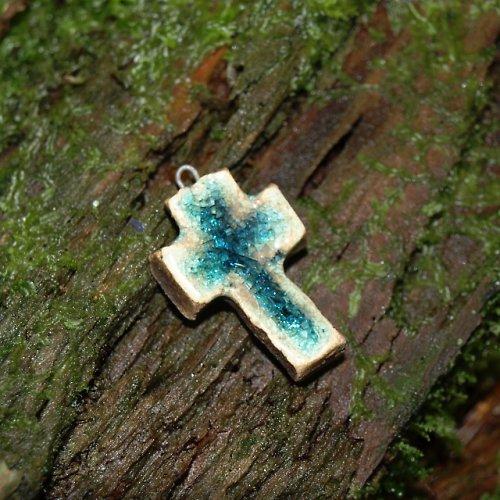 Keramický křížek modrý