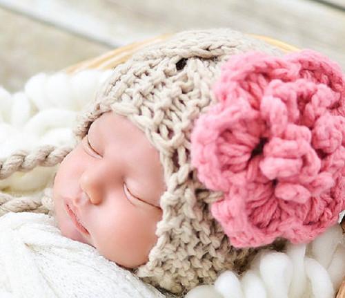 BABY girl zimní ušanka béžová