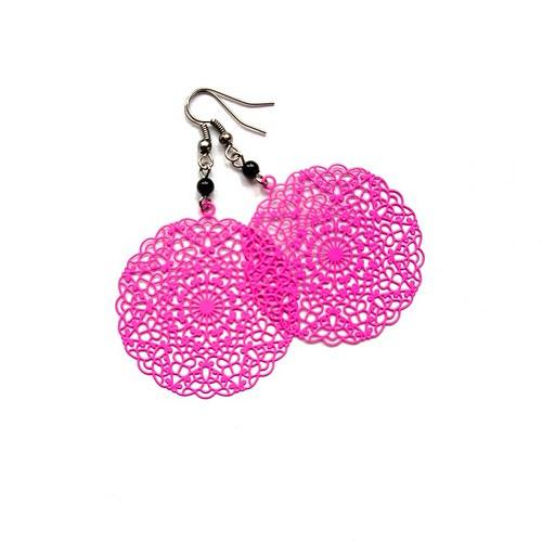 Pavučinky v růžové - náušnice nebo klipsy