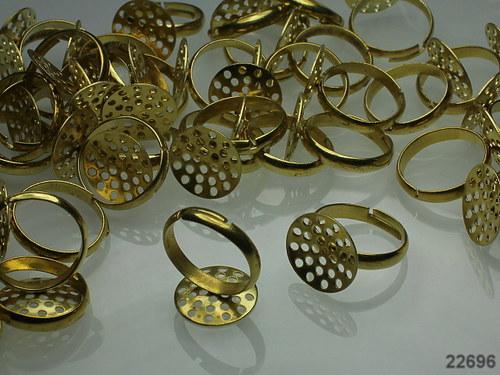 22696 Prstýnkový základ prošívací zlatý 14, á 1ks