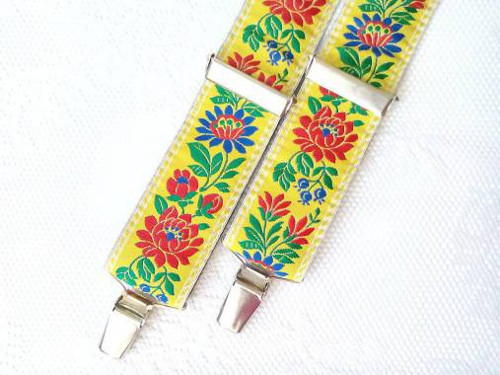 Folklore suspenders for kids (yellow)