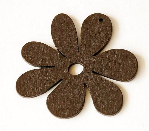 dřevěné kytičky- tmavě hnědé