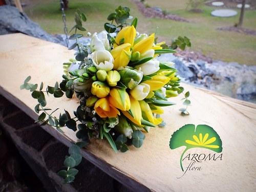 Svatební květina ***bílé & žluté tulipány