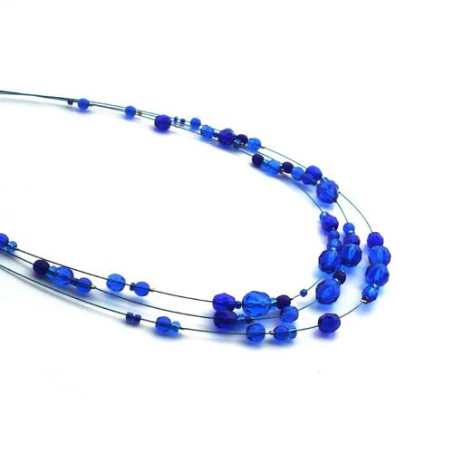 Královsky modrý třířadý náhrdelník