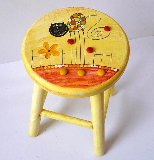 dřevěná stolička s opěradlem - žlutá s kočkou