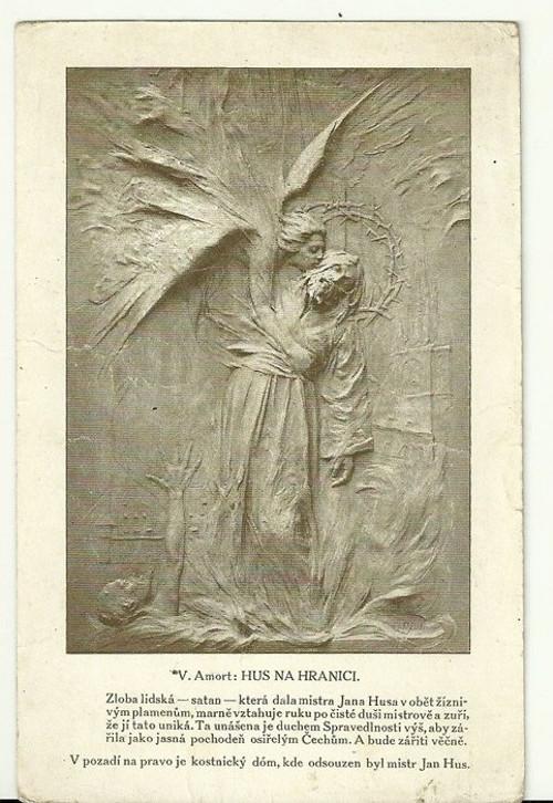 Umělecká pohlednice relief Hus na hranici
