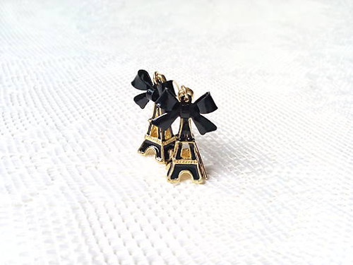 Eiffel earrings (black/24k Gold)