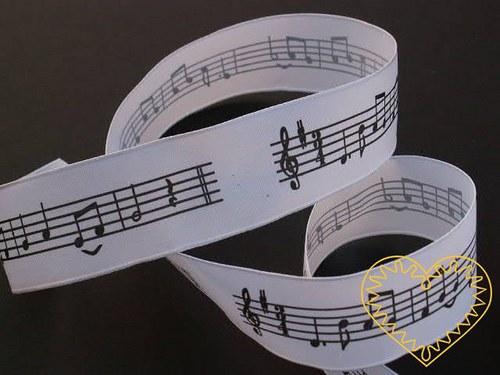Stuha pro milovníky hudby - noty - délka 20 m