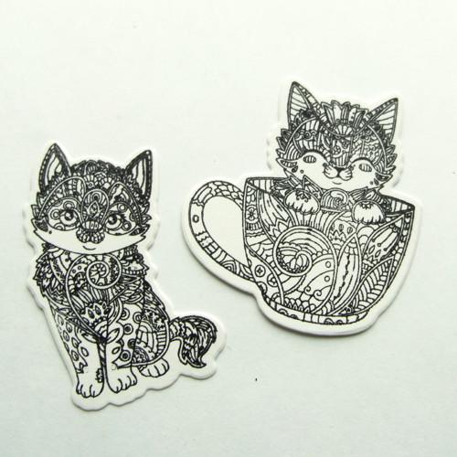 Otisk razítka - výsek - kočičky zentangle