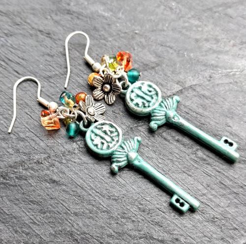 Náušnice s patinovanými klíčky