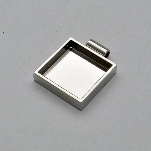 Kovový základ na přívěsek čtvereček / stříbrný