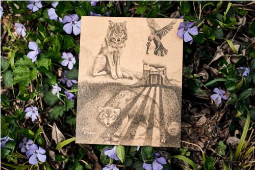 Uvězněný vlk • pohlednice kraftová