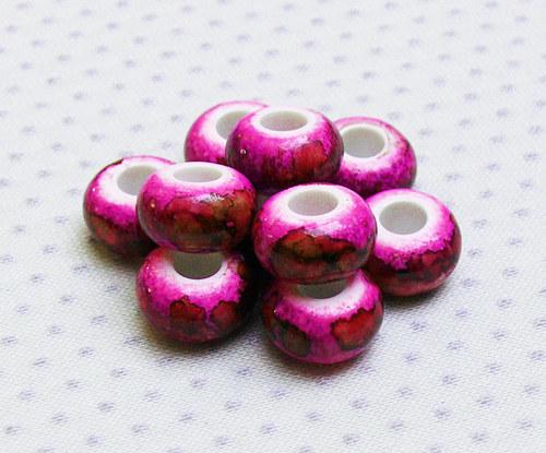 """Korálky - akryl \""""růžové\"""" 5 ks"""