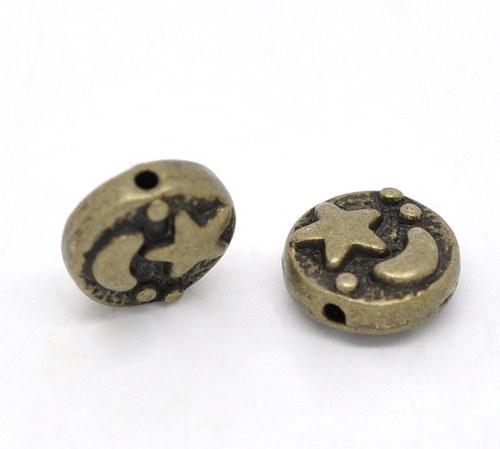 kovový korálek bronz 9x4mm/6ks