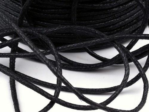 Šňůra bavlněná 1,5mm voskovaná - černá (5metrů)