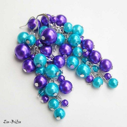 Fialovo tyrkysové perličky