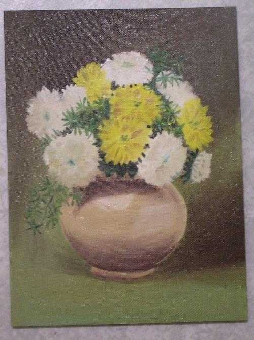 Chryzantémy olejová malba