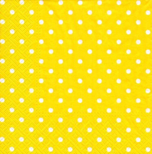 Papírový ubrousek,žlutý s puntíky,2ks