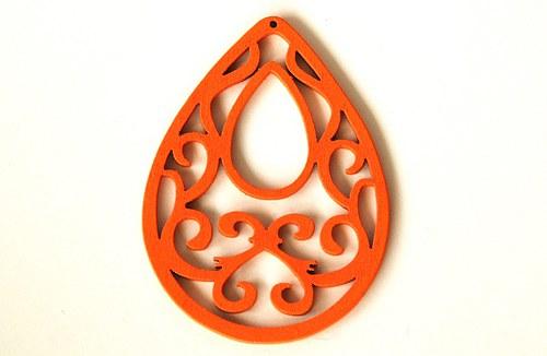 Dřevěné kapky- oranžové
