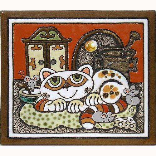 Keramický obrázek - Kočka a skříň K-149-CI