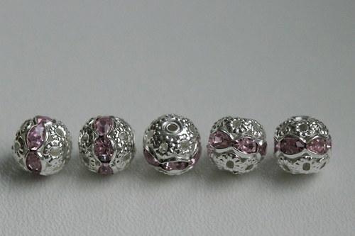 Šatonové kuličky 8mm - růžové - 5ks
