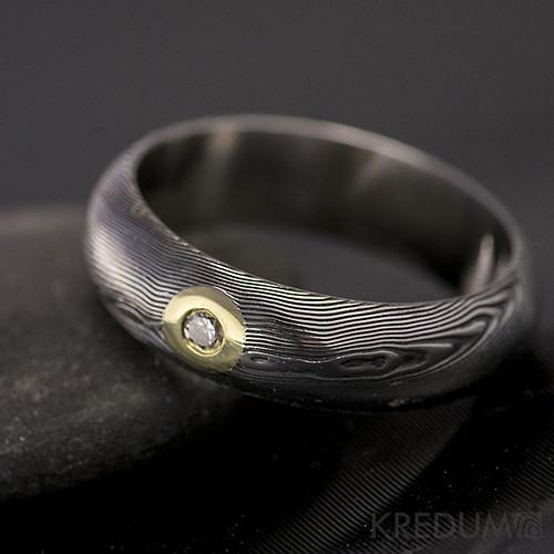 Snubní prsten damasteel PRIMA diamant 2,3mm zlato