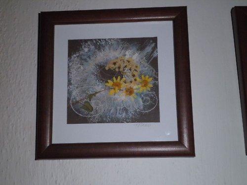 Obrázek - textilní koláž s lisovanými květy