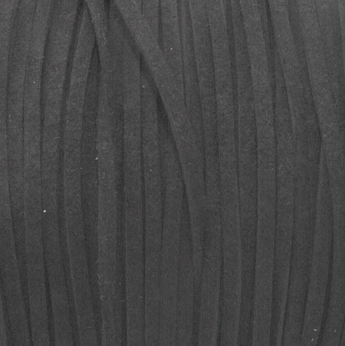 Semišová šňůrka plochá / 3 mm / černá