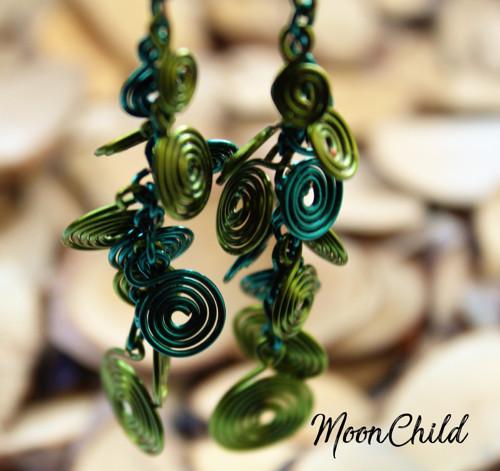 Green Spirals - náušnice