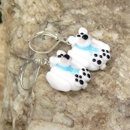 Náušnice lední medvěd - placky - vinuté perle