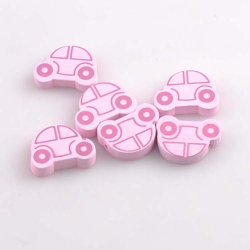 Dřevěné korálky autíčko 25x18mm (5ks) - růžová