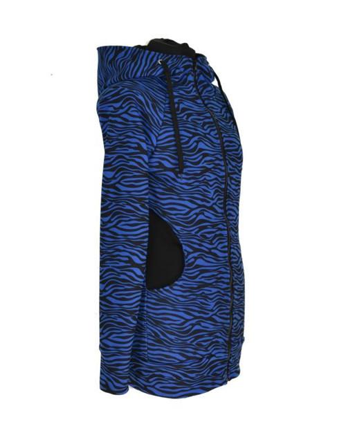 Prodloužená mikina - modrá zebra