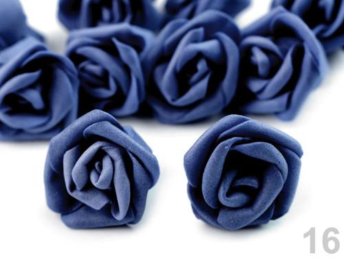 Dekorace růže Ø4 cm (10ks) - modrá delta