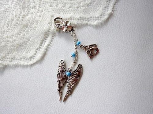 andělská křídla - přívěšek na klíče, kabelku....