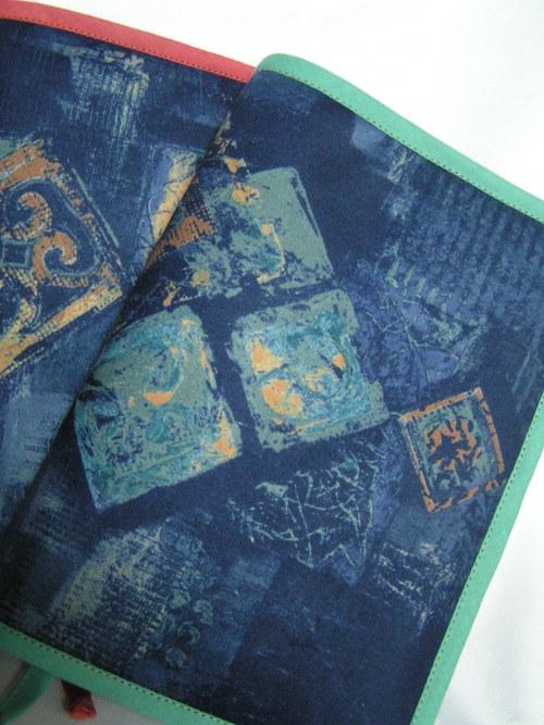 Obal na knihu - modrý s tyrkysovou